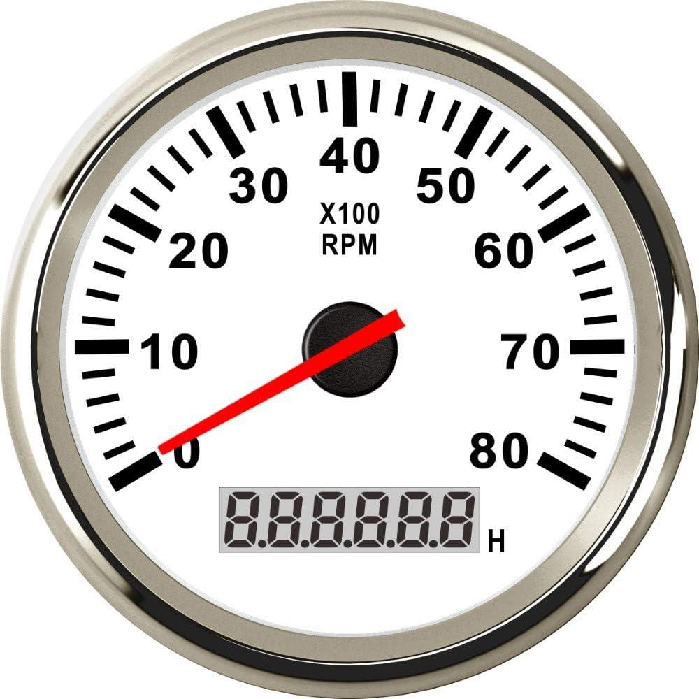 ELING Universal Tachometer 8000RPM Tacho Tachometer Gauge REV Counter with Hour Meter 85mm Gasoline Diesel 12V 24V Red Backlight 85mm
