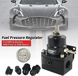 PQY Fuel Pressure Regulator with Gauge AN8 Feed & AN6 Return Line & AN8 End Cap