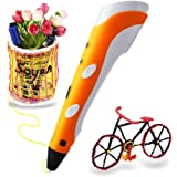 Soyan Standard 3D Printing Pen for Kids, with ABS Filament Sample and Drawing Templates (Orange)