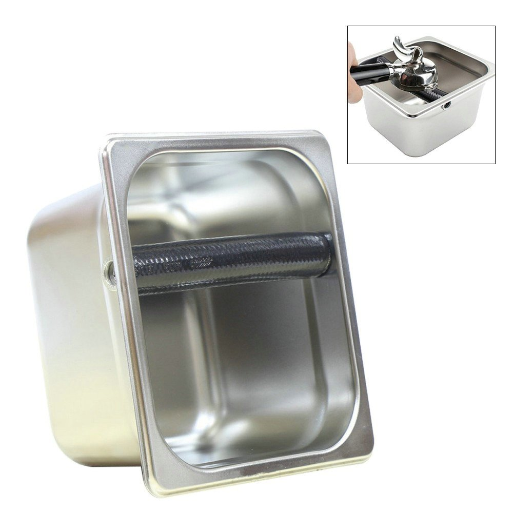 Stainless Steel Espresso Coffee Knock Box Container Coffee Grounds Container Coffee Bucket S/L Size (L size)