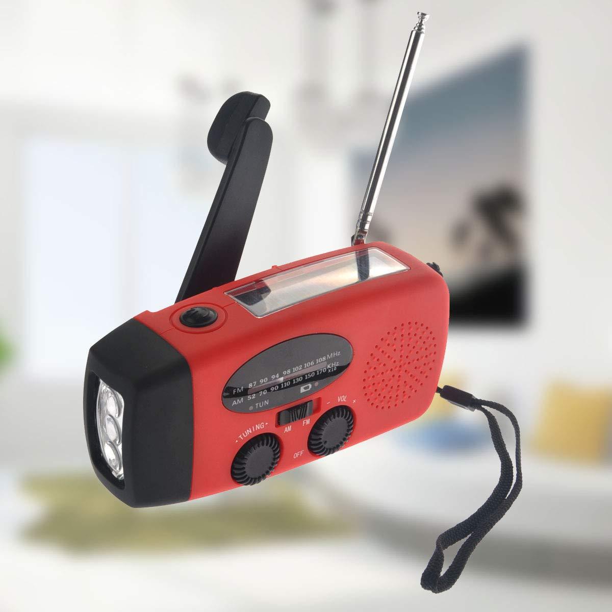 VOSAREA Emergency Solar Crank AM FM Camp Radio with LED Flashlight USB Output Port(Red) by VOSAREA (Image #6)