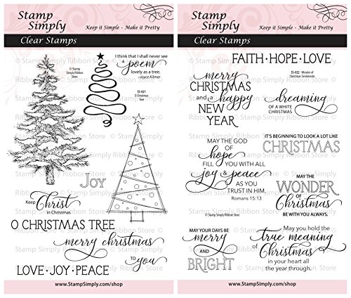 Stamp Simply Clear Stamps Group of 2 Sets O Christmas Tree and Wonder of Christmas Sentiments 4x6