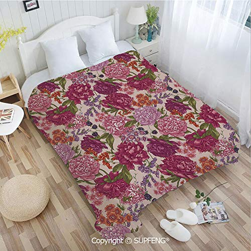 (FashSam Plush Blanket Peonies BlackBerry and Wild Flowers in Vintage Style Colorful Nature Yard Decora(W49.2xL78.7 inch) Air Conditioning Comfort Warmth for Bedroom/Living Room/Camping etc)