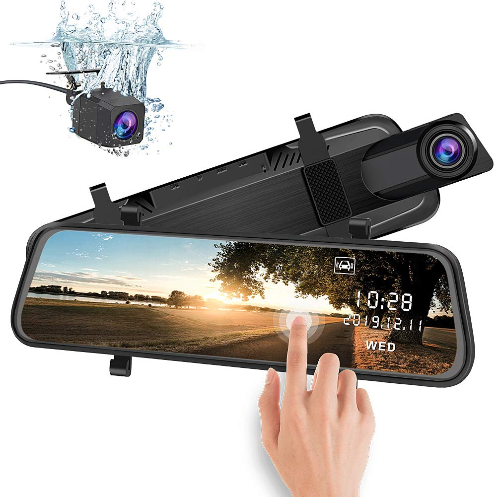 junsun Mirror Dash Cam Backup Camera 10 Inch Touch Screen 1080P Stream Media Dual Lens Full HD Reverse Camera 170° Wide Angle with Backup Camera G-Sensor Parking Monitor by junsun