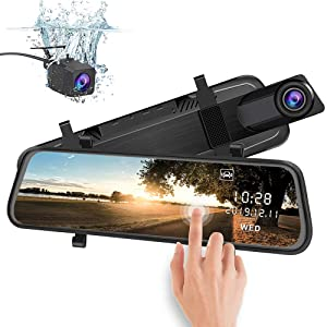 junsun Mirror Dash Cam Backup Camera 10 Inch Touch Screen 1080P Stream Media Dual Lens Full HD Reverse Camera 170°Wide Angle with Backup Camera G-Sensor Parking Monitor