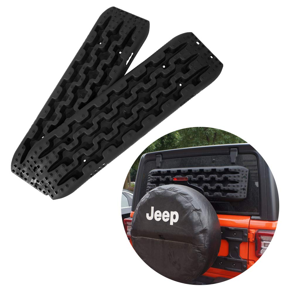 Yeeoy Pair Set Traction Mats Black Fit to Unstuck Your Car from Snow Ice Mud and Sand