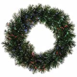 "24"" Pre-Lit Battery Operated Fiber Optic Artificial Pine Christmas Wreath- Multi"