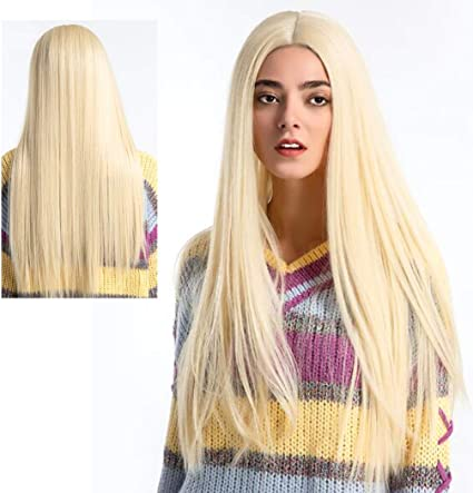 ATAYOU® Peluca Rubia Larga Lace Front - Long Straight Synthetic Lace Front Wigs Natural Straight Platinum Blonde Lace Front Wig For Women Heat Resistant Glueless Free Part Lace Wig: Amazon.es: Belleza