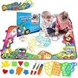 """Aqua Magic Doodle Mat, Bigear Kids Toys Large Water Drawing Painting Mat Scribble Learning Scribble Boards in 6 Colors with 2 Magic Pens and 1 Brush for Boys Girls Educational Learning Gift Size 34"""" X 22.5"""""""
