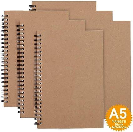 Cuaderno de bocetos tamaño A5, paquete de 3, tapa blanda con espiral, bloc de bocetos, 100 páginas/50 hojas de papel blanco, ideal para viajes Pack de 6 Marrón - Blanco: Amazon.es: Oficina y papelería