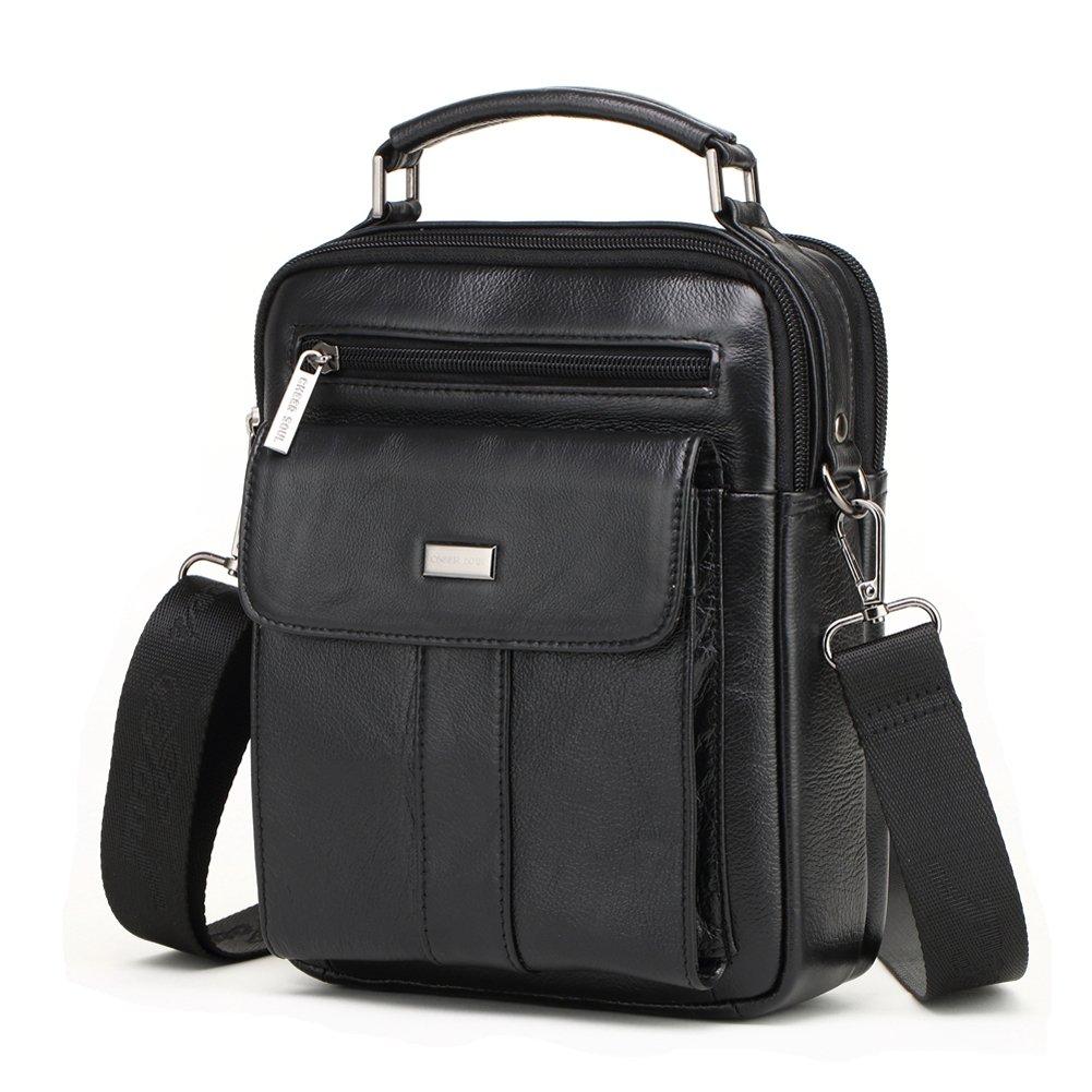 Meigardass Men's Genuine Leather Shoulder Messenger Handbag Laptop CrossBody Briefcase (Black)