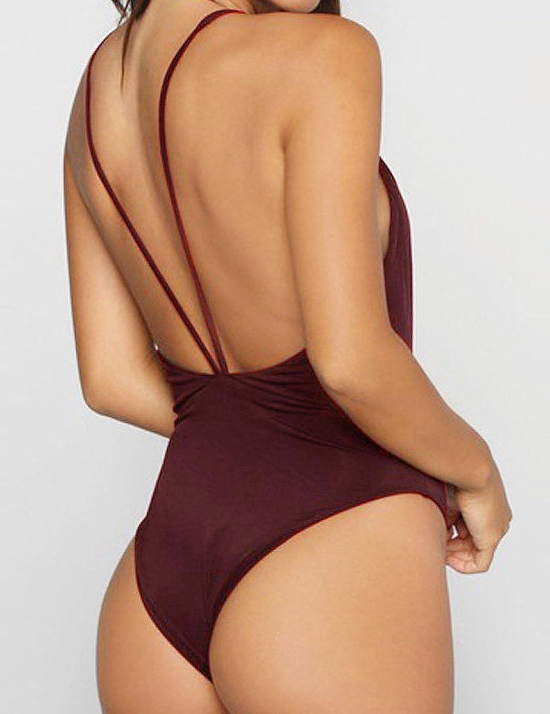 Zero City Women Monokini Swimsuits One Piece Bathing Suit Deep V Backless