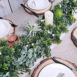 "WINDIY SUPLA 6.6' Long 4.3"" Wide Artificial Boxwood Greenery Garland Faux Boxwood Greenery Garland String Hanging Boxwood Twigs Vine Garland Table Runner for Spring Weddings Indoor Outdoor Décor 6"