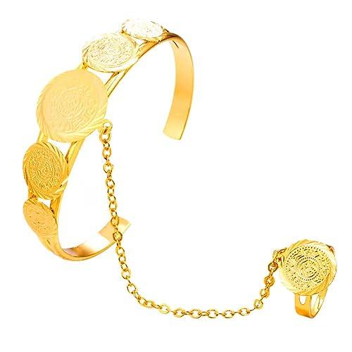 Fengteng Gold Farbe Münze Form Allah Armband Ring Islam Gott Allah