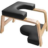 Restiral Life yoga-hoofdstandkruk, yoga-hoofdstandstoel voor thuis en in de sportschool, hout en PU-bekleding…
