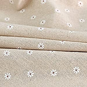 """Fanjow Cotton Linen Tablecloth Daisy Flower Macrame Lace Dustproof Table Cover for Kitchen Dinning Pub Tabletop Decoration (55""""98"""", White Daisy)"""