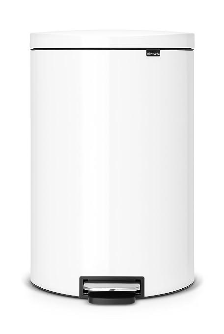 Brabantia Flatback 485244 - Cubo de Basura, 40 l, Ahorra Espacio, Cubo Interior de plástico extraíble, Color Blanco