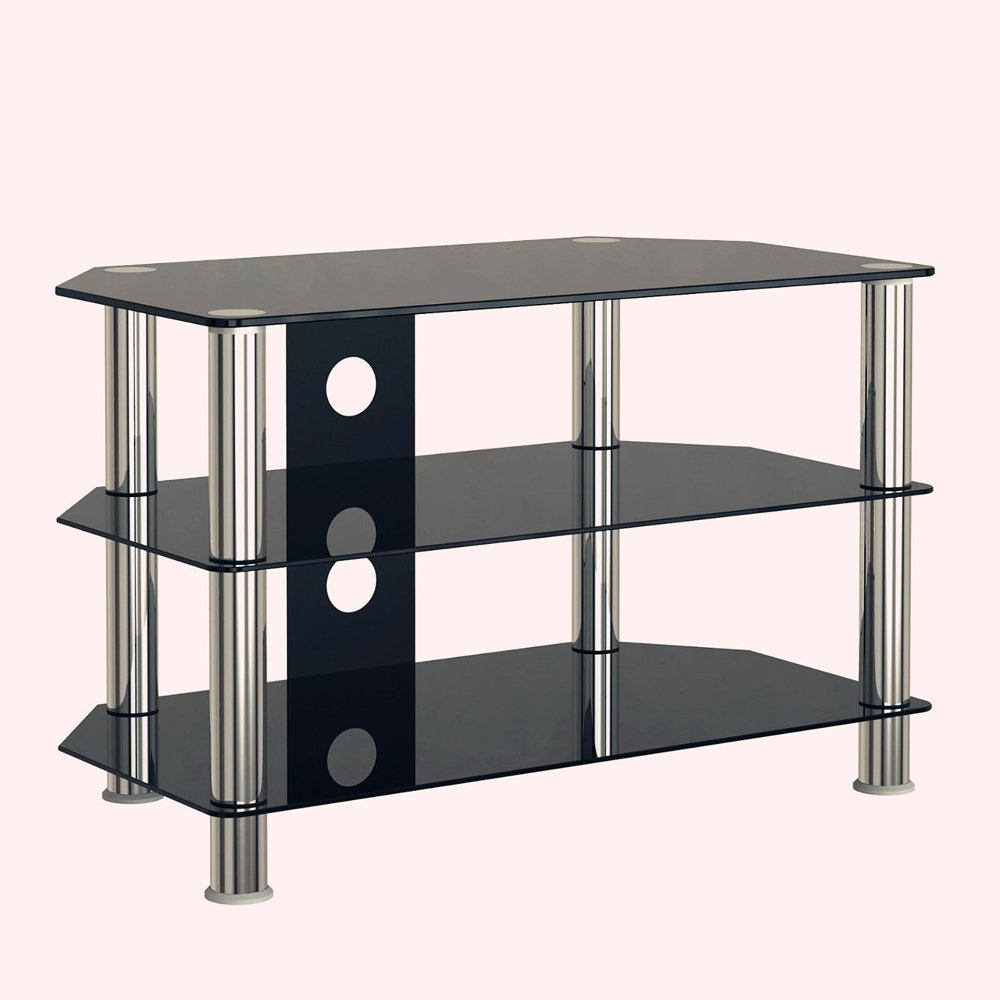 Panana Tv Stand Table Glass Stainless Steel Tv Media Amazon Co Uk  # Table Tv En Verre Design