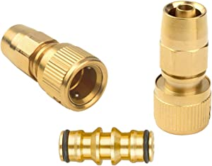 Set of Brass Garden Expanding Hose Joint Male Pipe Adaptor Repair with Quick Connector