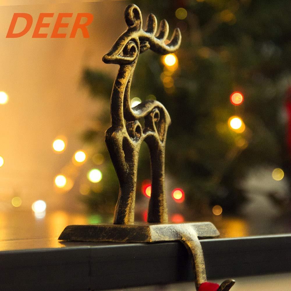 Cervo Decorazione per Camino Santa Ganci in Ferro da Appendere Appendiabiti Vintage per Calza di Natale Babbo Natale Pupazzo di Neve Judy1980 Fiocco di Neve