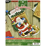 Bucilla 86702 Felt Applique Stocking Kit, Santa's Visit