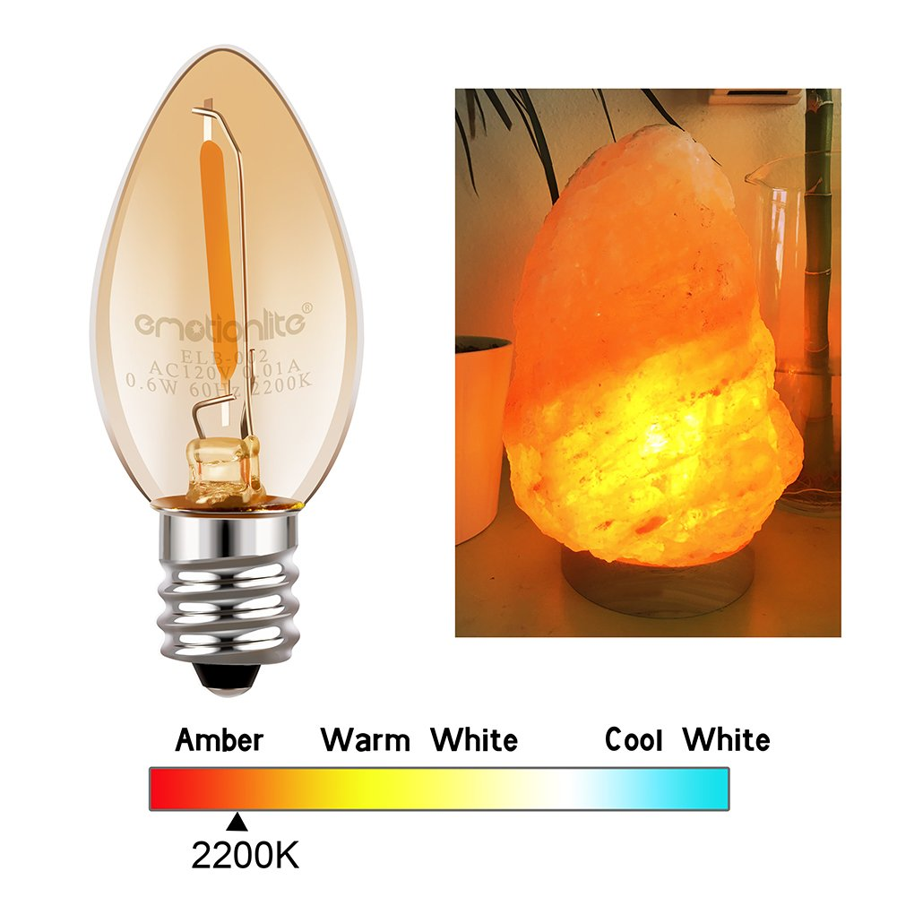 Night Light Bulbs, Emotionlite Amber LED C7 Bulb, 7w Equivalent, E12 Candelabra Base, Salt Lamp and Nightlight Replacement Bulb, 0.6W, Amber Yellowish 2200K, 50LM, 6 Pack by Emotionlite (Image #5)