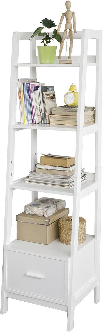 SoBuy Estantería en Escalera de Madera, Estanterías Librerias, Estanterias de Diseño, FRG116-KW, ES