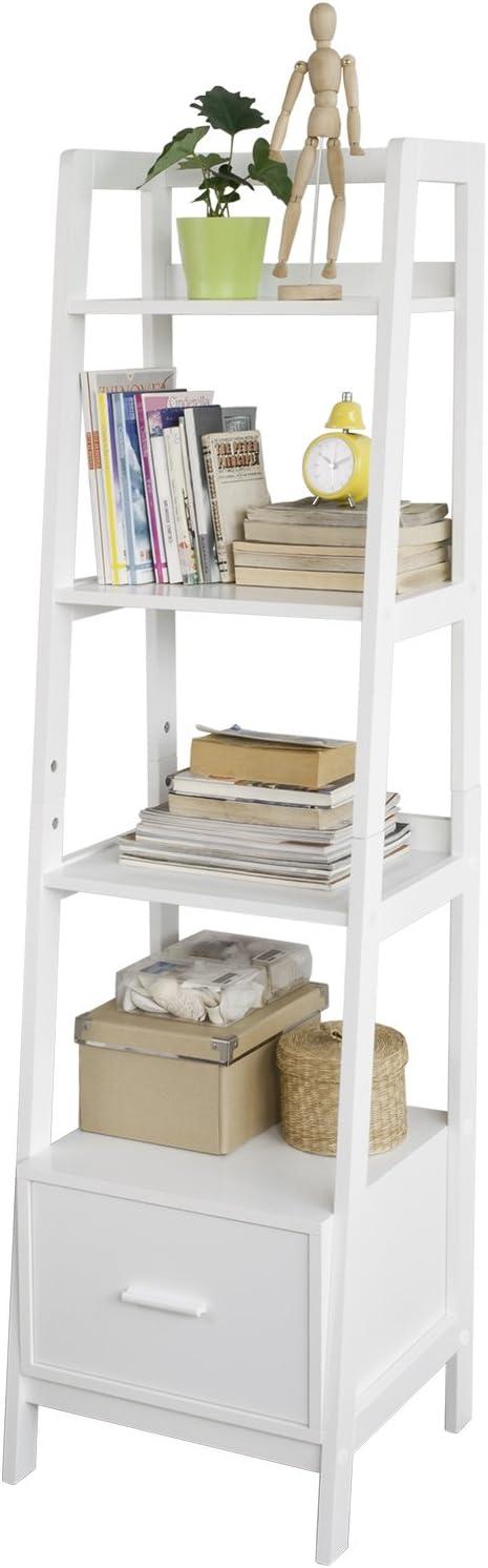 SoBuy Estantería en Escalera de Madera, Estanterías Librerias, Estanterias de Diseño, FRG116-K-W, ES: Amazon.es: Hogar