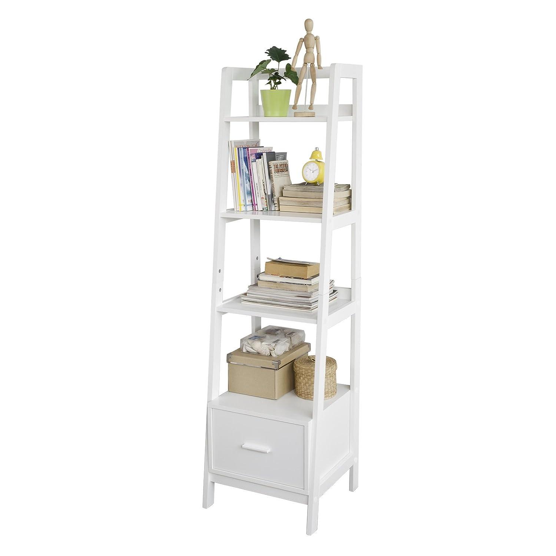 SoBuy® Leiterregal,Bücherregal,Standregal,Badregal,mit Ablagen und Schublade in Weiß, B44cm, FRG116-K-W
