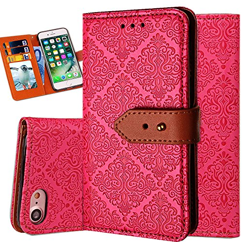 iPhone 6S Wallet Case,Auker Flip Folio Vintage Leather Book Style Stand Case Full Body Protection Retro Purse Cover with Card Holders&Hidden Cash Pocket for Women/Men for iPhone 6/6s 4.7 Inch (Rose)