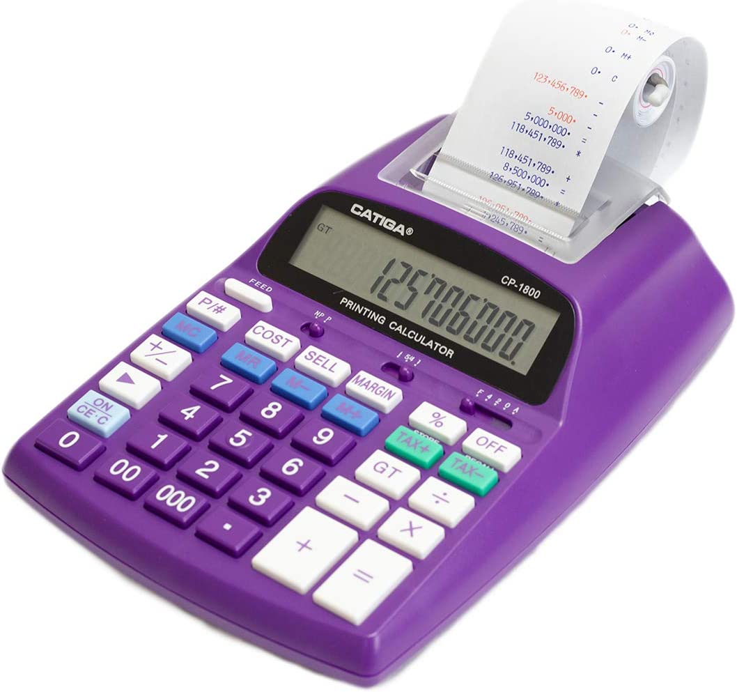 Two Color,2.03 Lines//sec Green Catiga 12-Digit Desktop Commercial Printing Calculator with Tax Functions CP-1800 for Home//Office with AC Adapter