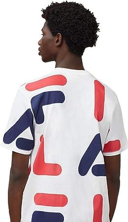 Fila Hombre Camiseta con Estampado AOP de Bennet, Blanco