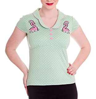 HELL BUNNY Shirt Rockabilly Top CILLA Polka Dot MINT Green 50s All Sizes
