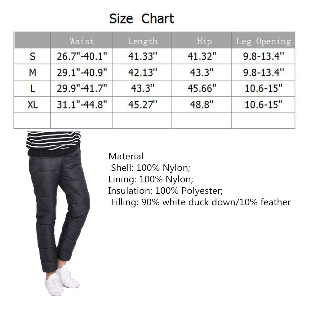 SYOKYO1980 Mens Winter Warm Packable Down Pants Compressor Snow Trousers