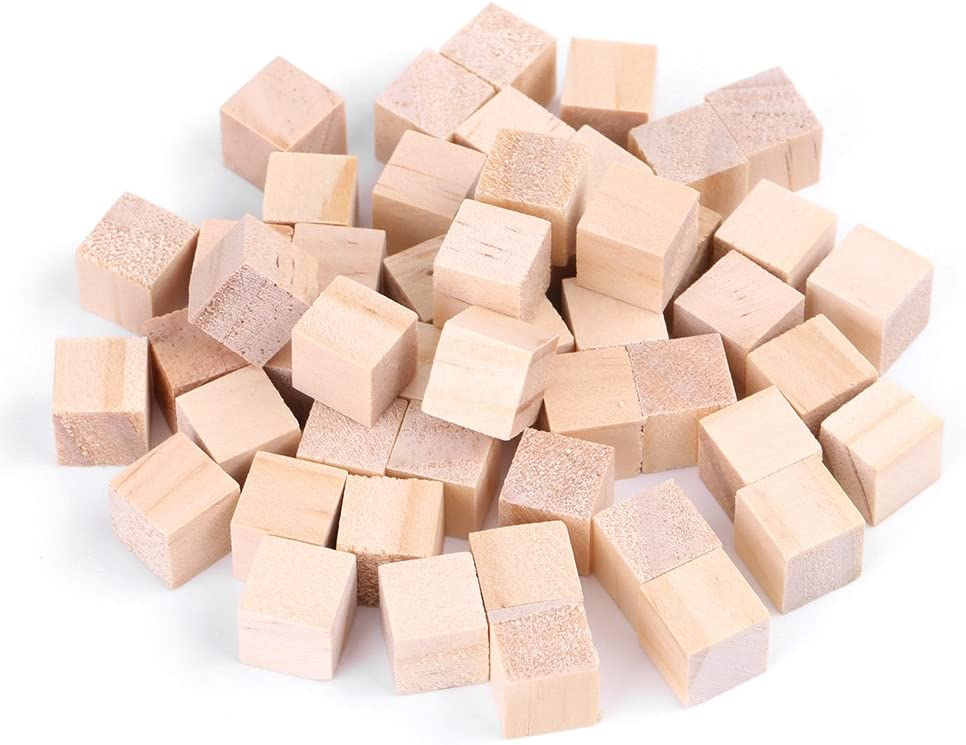 Hztyyier Wood Cubes for Craft Wood Square Blocks Natural Handmade Woodcrafts for DIY Crafts Kids Toy Home Decoration 25mm