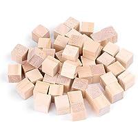 Bloques de madera artesanales, bloques de madera cuadrados naturales cubos de madera para manualidades de bricolaje artesanías en madera juguetes para niños decoración del hogar