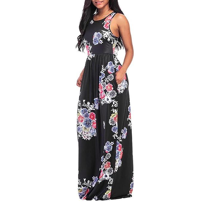 Vestido Para Mujer,Koly Sexy Mujer Floral Impresión Redondo Cuello Sin mangas Largo Maxi Casual