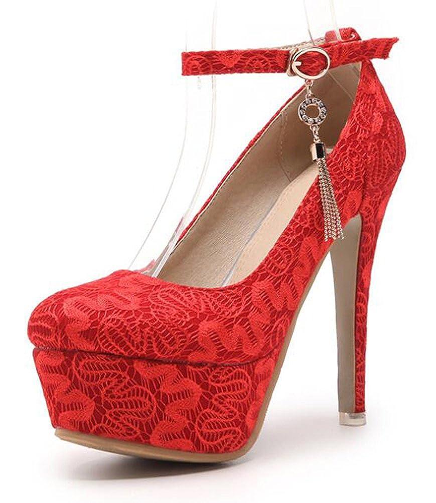 9204018f197afd Easemax Damen Schick Stickerei Hochzeitschuhe Plateau High Heels Pumps   Amazon.de  Schuhe   Handtaschen