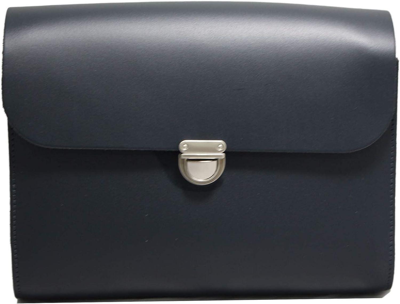 A to Z Leather Bolsos satchel de piel grandes y pequeños con correa ajustable, hechos a mano y con cierre metálico. Pueden personalizarse con unas iniciales. Grande - Negro