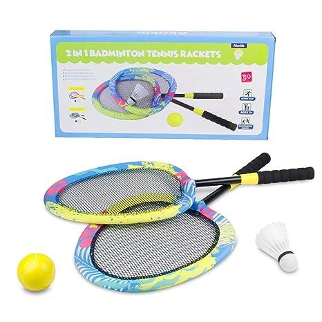 Raquetas Bádminton Tenis Niño Juegos al Aire Libre Juguetes de jardín Playa con Bolas 3 4