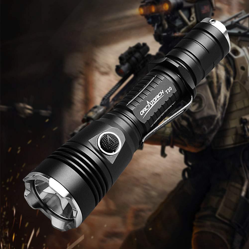 ORCATORCH T20 980 Lumens Taktische Taschenlampe Wiederaufladbar Lampe wiederaufladbar Licht mit Holster für Sicherheitsleute