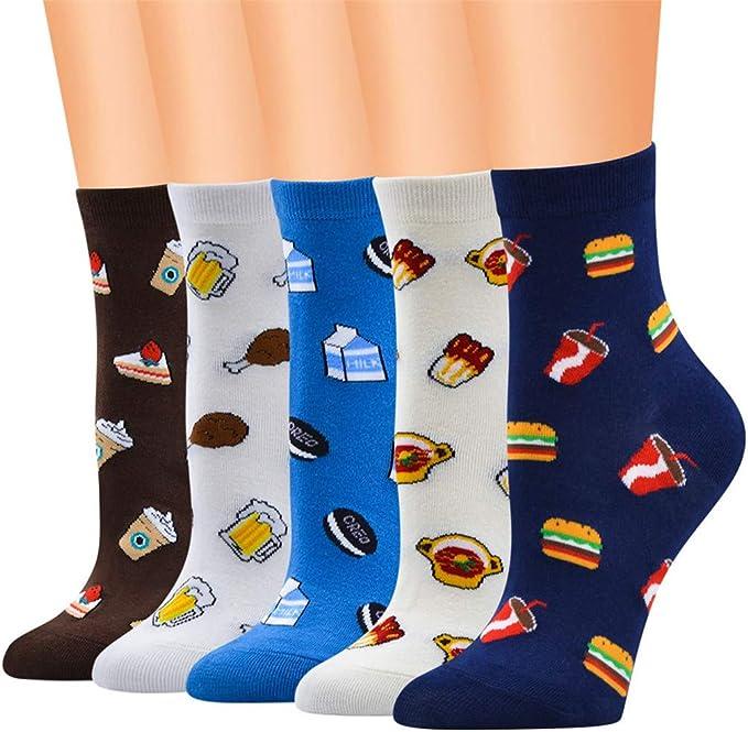 MYONA Pack de 10 Calcetines de Algodón Dibujos Animados, Hombre Mujer Calcetines de Divertidos Ocasionales con Estampados de Comida Calcetines de Colores de Moda Regalos de Cumpleaños Unisex Suave: Amazon.es: Ropa y