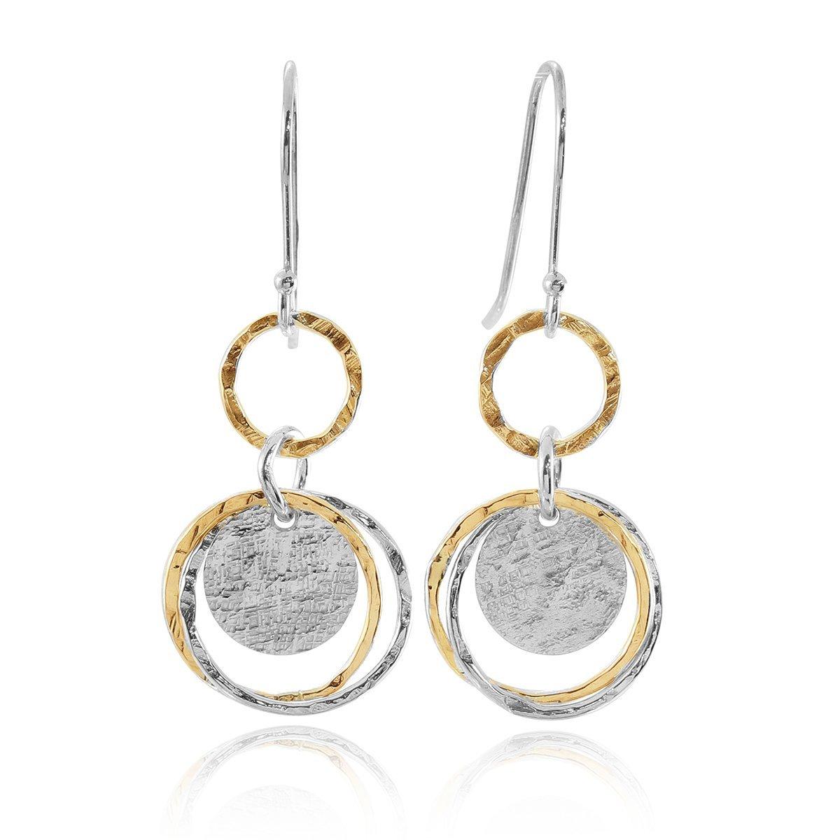 Delightful Two Tone Earring 925 Sterling Silver & 14k Gold Filled Multi Circle Women's Dangle Earrings