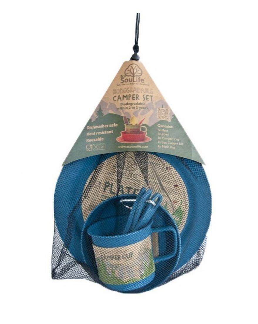 Ecosoulife Biodegradable Camper Set - Plate, Bowl, Cup, Cutlery Set, Mesh Bag (Blue) by Ecosoulife