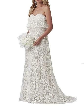 Amazon.com: Skynia - Vestido de novia para mujer con encaje ...