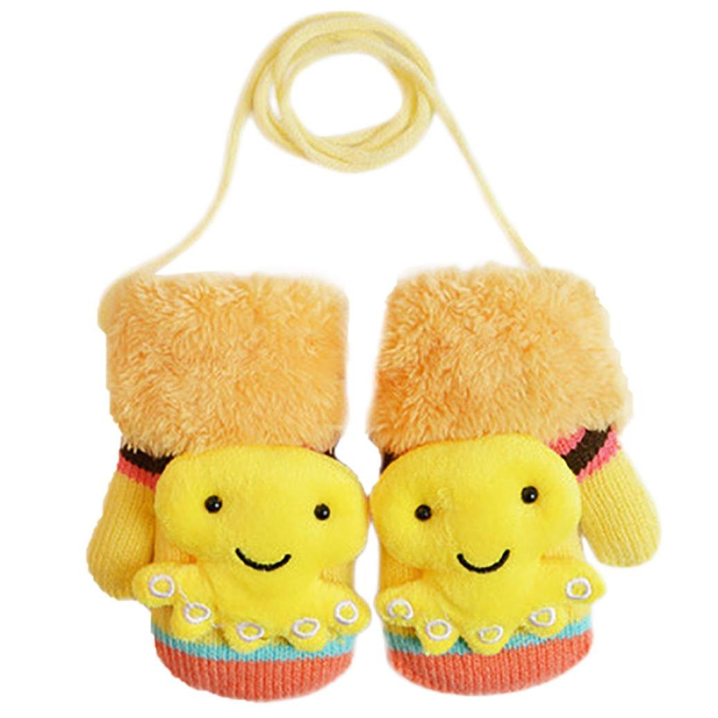 Baby Girls Boys Winter Warm Gloves Celendi Kids Cartoon 3D Octopus Thick Gloves