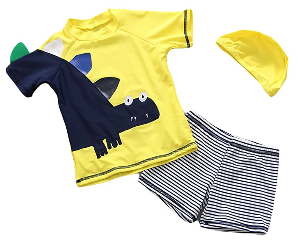 Baby Boys Rashguard-Sun Protective UV Blocking Swimsuit Two Pieces Set Kids Swimwear Bathing Suit with Hat UPF 50+ Muzboo