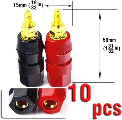 50 Binding Post Speaker Cable Amplifier 4mm Banana Plug Jack Connector Red/&Black