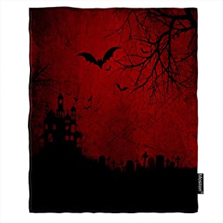 Moslion Halloween Blanket Skull Spooky Bats Spider Ghost Cross Cemetery Grave Stone Castle Tree Throw Blanket Flannel Home Decorative Soft Cozy Blankets 40x50 Inch for Baby Kids Pet Red Black