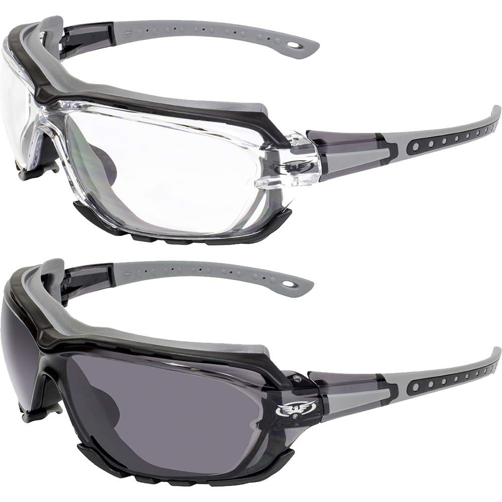 2 Pair Global Vision Octane Padded Motorcycle Sport Sunglasses Gray with Clear and Smoke Lens by Global Vision